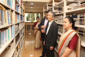 Guest from University of Miyazaki on a visit to Library and Learning Centre of Atmiya University.